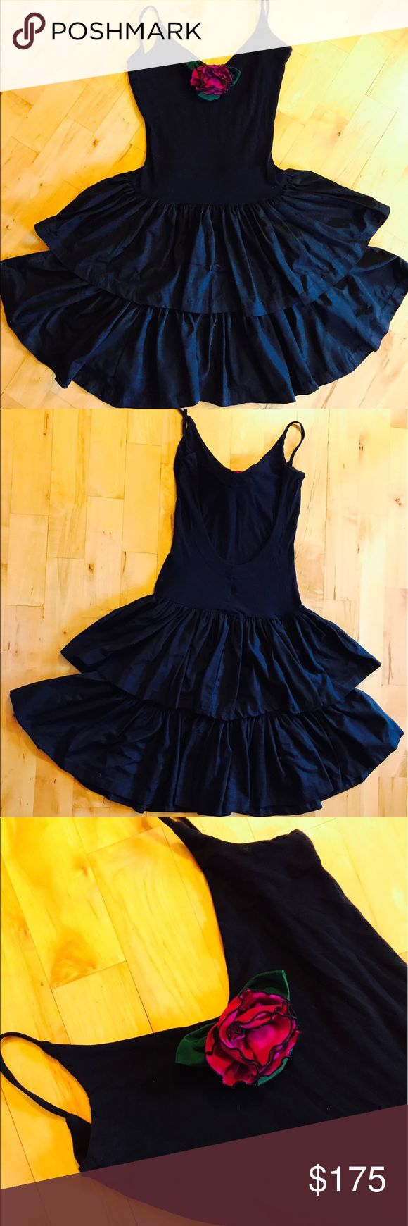 """🌺Vintage Late 80s Betsey Johnson, Punk Label What can I say! Gorgeous dress, excellent condition. 42""""L, 15""""B, 13.5""""W. V neck with flower accent, plunging back, two full taffeta layers on skirt. A showstopper. I wore this when I went to the Grammy Awards and got TONS of compliments, worn maybe once or twice after that. I was keeping for the sentiment, but it is time to let the beauty go to a new home. Shell is cotton/Lycra ruffle is acetate/rayon. Comes just to the knee on me, I am 5'8""""…"""