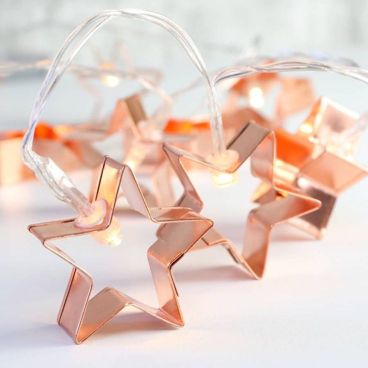 Battery Powered Copper Star Cookie Cutter String Lights