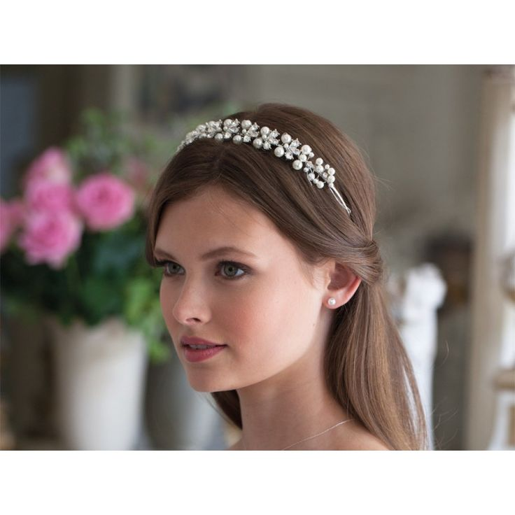 Bluebell Pearl and Crystal Band Headdress - This timeless pearly band with crystal highlights is effortlessly elegant.  £75.00
