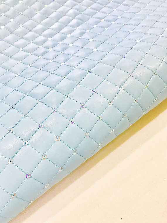 Quilted Baby Blue Sequin Thick Faux Leather Fabric Sheet Foam