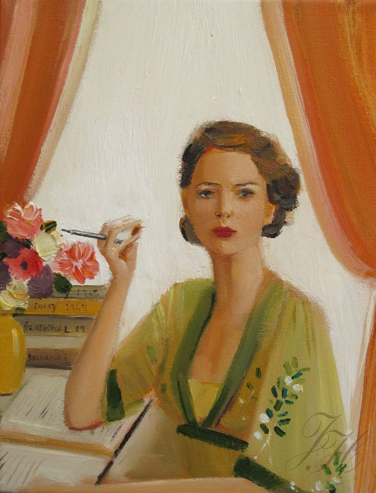 The glamourous and floaty green dress in this painting by Janet Hill