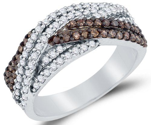 Size 6 - 925 Sterling Silver Channel Set Cross Over Round Cut Chocolate Brown and White Diamond Ladies Womens Wedding Band OR Anniversary Ring (3/4 cttw.)