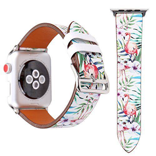 X-Cool Bracelet Apple Watch 38mm doux Cuir Flamant thème Homme Femme  Bracelet de Remplacement 2c9bc043c4e
