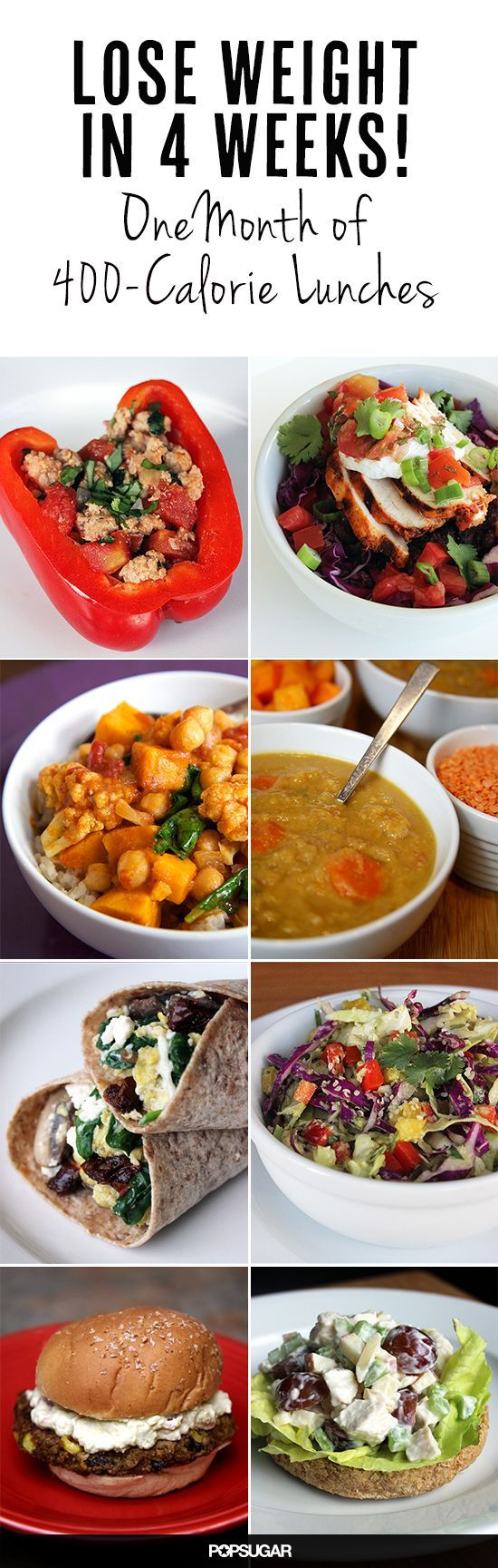 One Month of 400 Calorie Lunches // great pack aheads for the work week #organize #weightloss