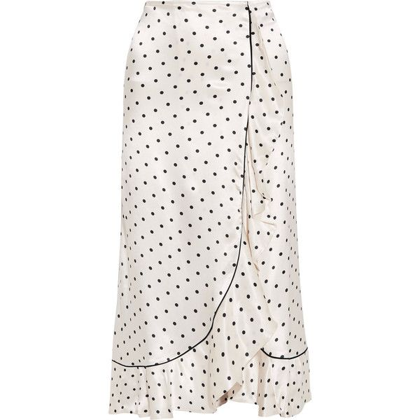 GANNILeclair Ruffled Polka-dot Satin Midi Skirt (€235) ❤ liked on Polyvore featuring skirts, ivory, polka dot midi skirt, white knee length skirt, white midi skirt, mid-calf skirt and midi skirt