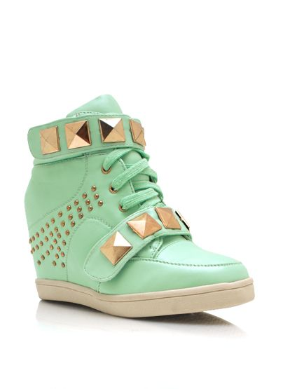 Studded Pyramid Wedge Sneakers