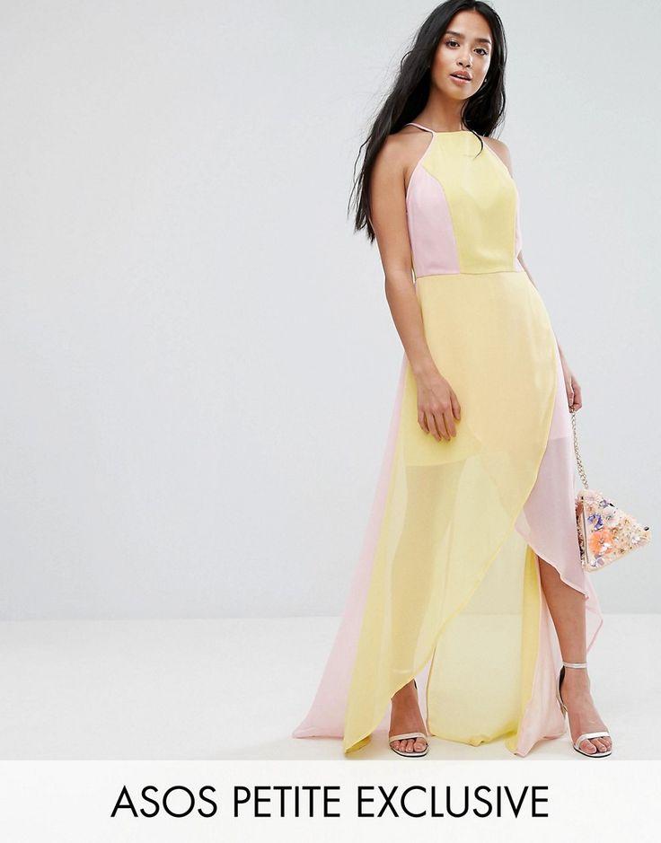 ASOS PETITE Color Block Maxi Dress - Pink