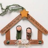 DIY Nativity Ornament made from popsicle sticks or craft sticks.
