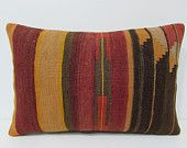 16x24 kilim pillow striped pillow case lumbar pillow case organic throw pillow boho bedroom wool pillow case vintage pillow cover boho 25540