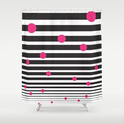 Black and white and pink  Pink Shower CurtainsPink  42 best Black and White Striped Shower Curtain images on Pinterest  . Pink And White Striped Shower Curtain. Home Design Ideas