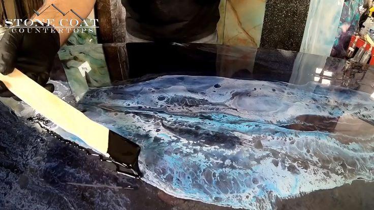 Turn Epoxy Into Blue Granite Epoxy Countertop Blue Granite Resin Countertops