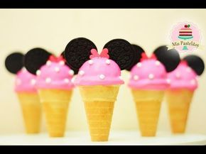 CAKE POPS EN FORMA DE NIEVE/HELADO   MINNIE MOUSE   MIS PASTELITOS KIDS - YouTube