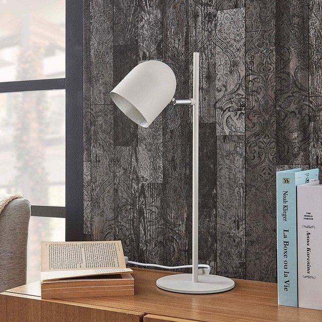 Lampe A Poser En Metal Moderne Morik Blanc Argente Lampenwelt La Redoute Lampe De Bureau Lampes De Table Lampe