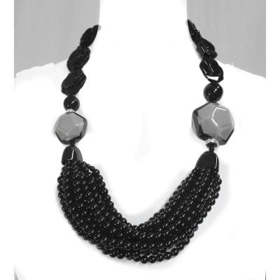 Angela Caputi Pentagono Necklace - Grey/Blk