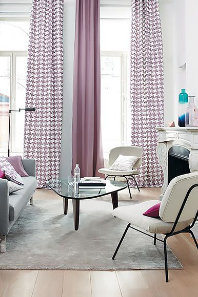 Camengo fabrics from the Mixology Designs Collection. Oversized hounds-tooth embroidery on satin is great fun as curtains. Pastel colours, greys and neutrals create a calm contemporary room. Available in Australia exclusively from The Textile Company.