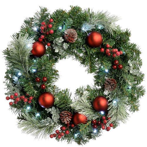 Pre-Lit Frosted Christmas Decorated Door Wreath 60cm Red Hanging Holiday Decor  #SmartDealsMarket