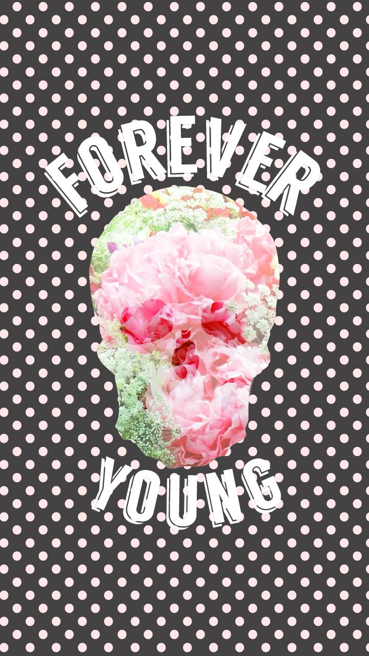 Iphone wallpaper tumblr skull - Black Pink Polka Dots Spots Floral Skull Forever Young Iphone Wallpaper Phone Background Lock Screen
