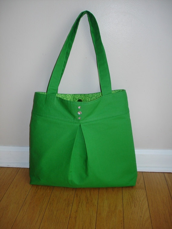 Sale-Green pleated and sparkle button bag., via Etsy. A fun green bag!: Green Bag