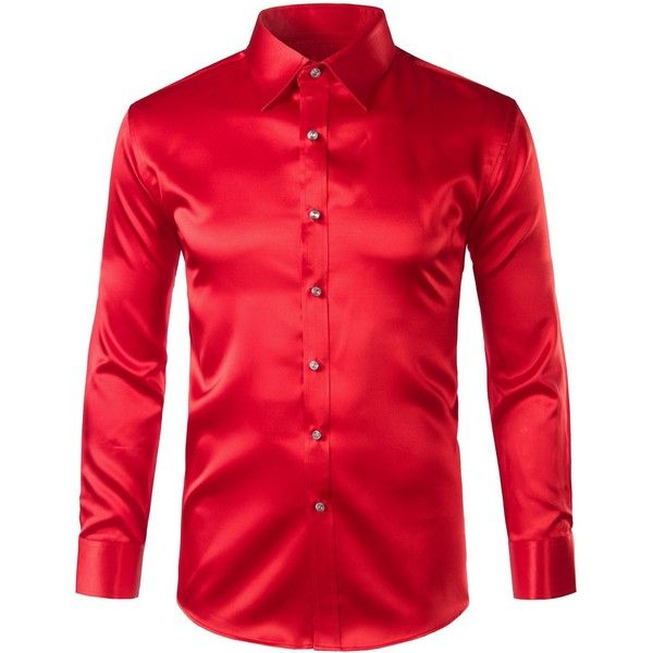Zeroyaa Mens Regular Fit Long Sleeve Shiny Satin Silk Like Dance Prom... ($27) ❤ liked on Polyvore featuring men's fashion, men's clothing, men's shirts, mens silk dress shirts, mens long sleeve dress shirts, mens long sleeve silk shirt, men's regular fit shirts and mens silk shirts