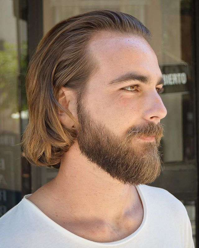Men long hairstyles slicked back