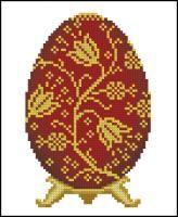 """Яйцо Фаберже """"Золотые цветы на красном"""""""