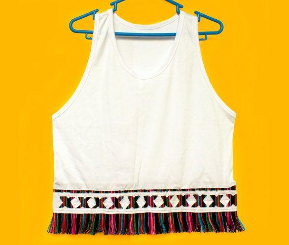 Women's Tshirts, Women's Tops, Trendy Tops, Shirt, Tank Top, T shirt, Rainbow Top, Fringe tshirt with Peruvian fabric, Andean fabric