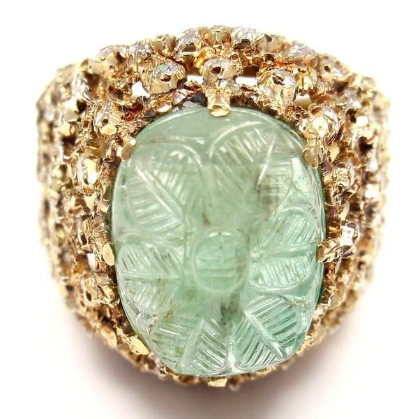 Rare! Authentic Mario Buccellati 18k Yellow Gold Diamond Carved Emerald Ring - Fortrove