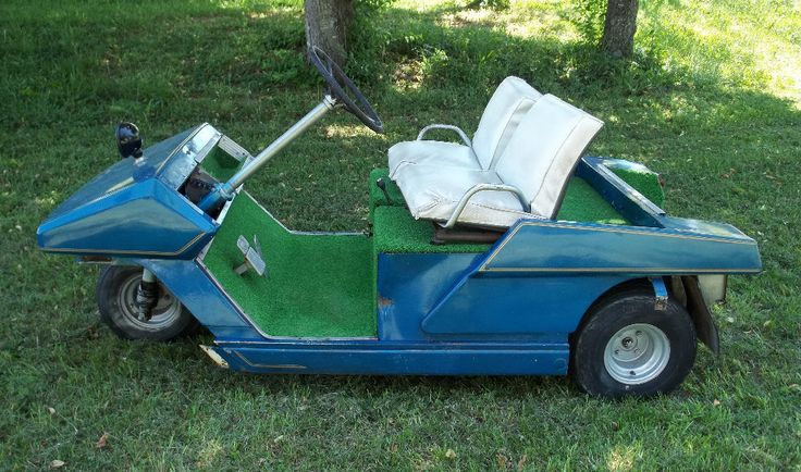 Vintage cushman blue automatic golf cart with 8hp gas for Electric golf cart motor repair