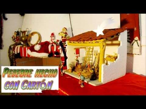 Manualidades para navidad Pesebre hecho con Carton, portal de belen, nacimiento - YouTube