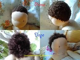 Risultati immagini per fare capelli di lana arricciati per bambole