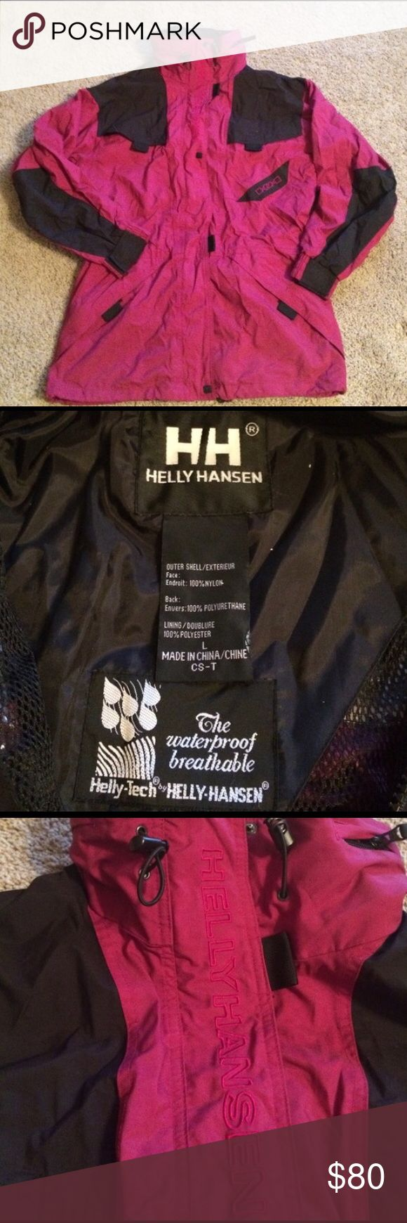 "Helly Hansen ski jacket Hidden hood with cinching around the waist.  Measures 23"" from pit to pit and 33"" long from top of shoulders to bottom of jacket. Helly Hansen Jackets & Coats"