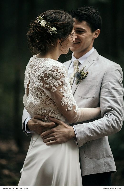 A beautiful forest wedding with a sleek and elegant silk dress with delicate lace and beaded detail with the groom in a light grey suit! https://www.theprettyblog.com/wedding/into-the-midlands-woods-a-beautifully-relaxed-wedding/?utm_campaign=coschedule&utm_source=pinterest&utm_medium=The%20Pretty%20Blog&utm_content=Into%20the%20Midlands%20Woods%20-%20a%20Beautifully%20Relaxed%20Wedding