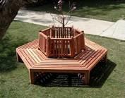 #GardenFurniture; http://ForeverRedwood.com/ Hexagonal Tree Benches