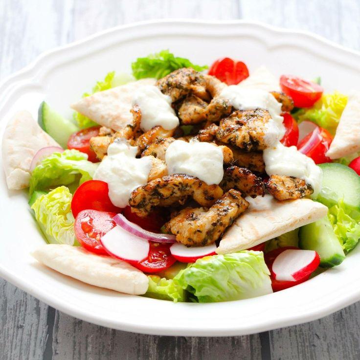 Recept van Sandra van Leuke recepten https://www.leukerecepten.nl/recepten/salade-kip-gyros/  De gyroskruiden heb ik zelf gemaakt met het recept van Lekker en Simpel recepten. De hoeveelheid zout