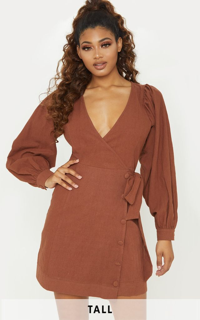 50552cec5fd Tall Chocolate Brown Woven Puff Sleeve Button Detail Shift Dress ...