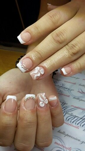 #nails #frenchnails #3dbows #swarovskicrystals #beautymakesyouhappy