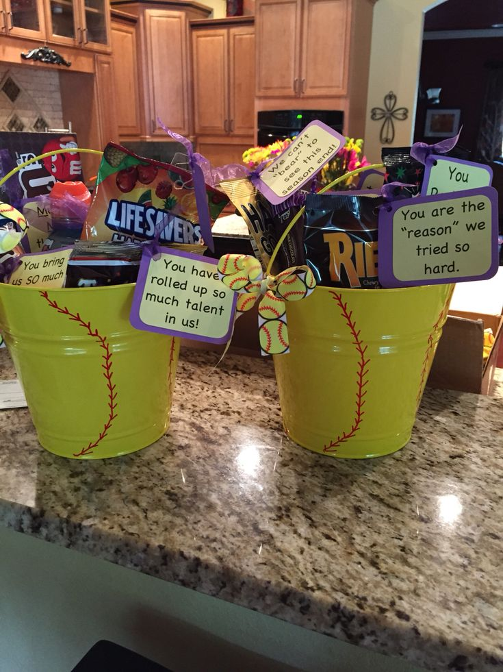 Coaches gifts. Filled with Gandy Gram Thank-you for Softball Coaches