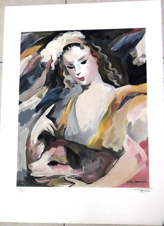 Marie Laurencin Lithographie Jeune Fille Et Son Chien Jeune