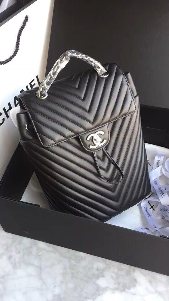 Chanel chevron backpack original leather