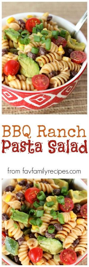 BBQ Ranch Pasta Salad is a delicious side dish for BBQ grilling. The dressing is rich and tangy but doesn't overpower the fresh taste of the vegetables. via @favfamilyrecipz