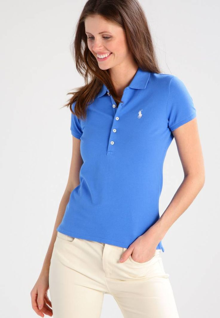 """Polo Ralph Lauren. JULIE - Polo shirt - brilliant blue. #PoloShirt Fit:tailored. Outer fabric material:97% cotton, 3% spandex. Our model's height:Our model is 71.0 """" tall and is wearing size S. Pattern:plain. Care instructions:machine wash at 30°C. Length:normal. ..."""