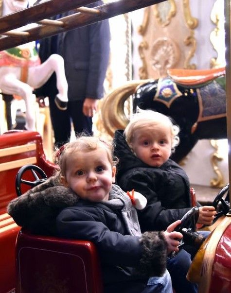 Prince Albert II of Monaco and his wife Princess Charlene and their children Prince Jacques and Princess Gabriella during the inaugurat...