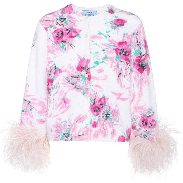 Prada Feather-Trimmed Printed Mohair and Wool Cardigan (€1.130) ❤ liked on Polyvore featuring tops, cardigans, multicoloured, multi color tops, prada top, multi colored cardigan, wool tops and multi color cardigan