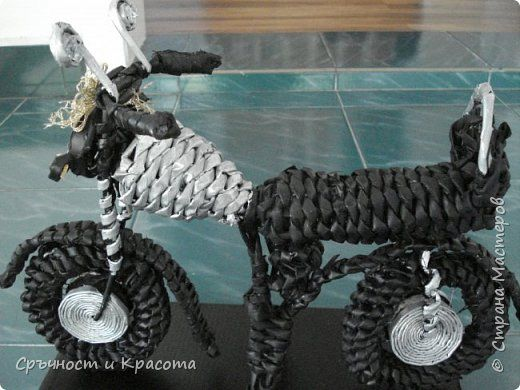 Поделка изделие Плетение авто-мото и другие  с колеса Трубочки бумажные фото 3