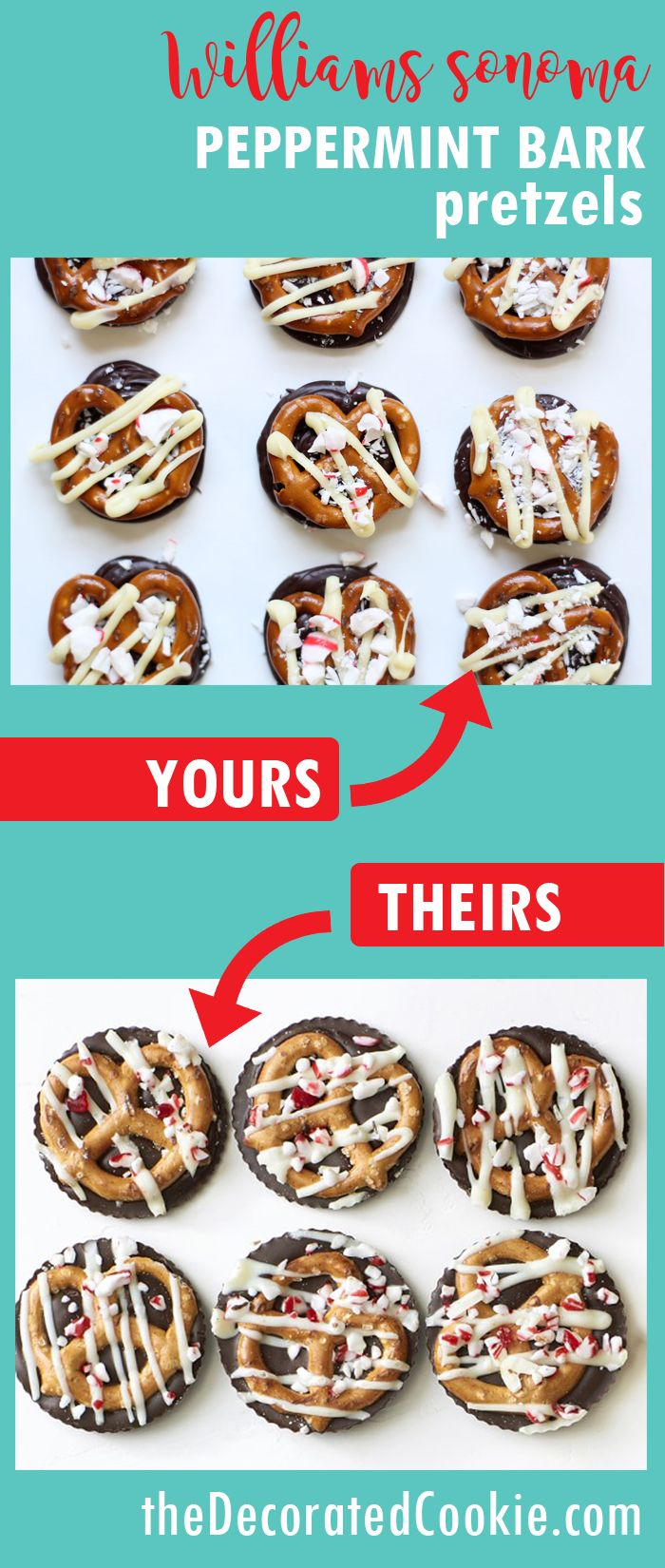 copycat Williams Sonoma peppermint bark pretzels, a delicious, easy homemade Christmas gift idea