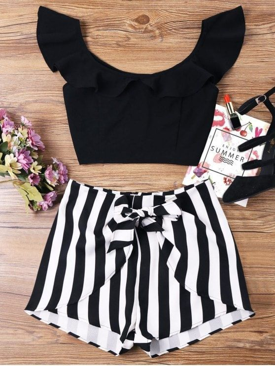 Ruffle Striped Shorts Two Piece Set. Shop for trendy fashion style two piece  outfits for women online at ZAFUL. Find the newest styles sexy two piece  short ... 47420dba15