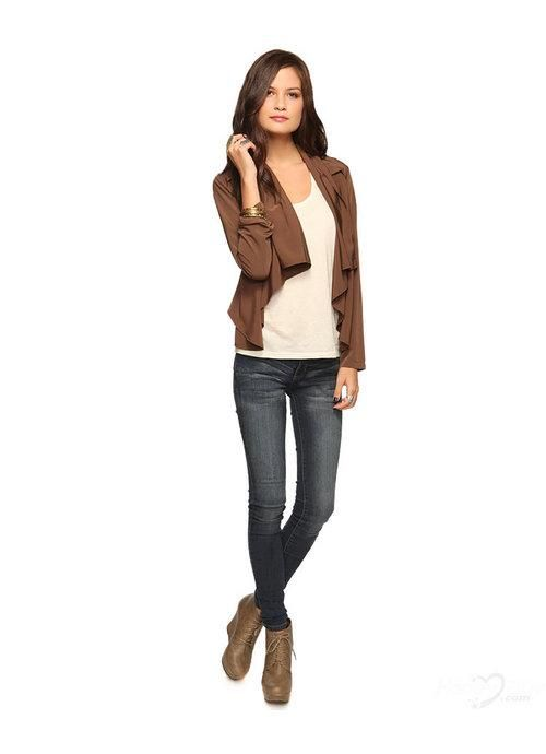 2013 Business Fashion for Women | Taffeta Long Sleeves Brown Fashion Formal Women Jacket 2013