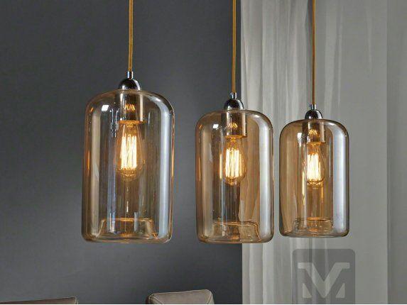 Lampa Wisząca Edison 3L transparentna szklana bursztynowa do salonu kuchni jadalni zijstra