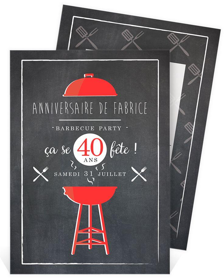 Invitation anniversaire pour rassembler vos amis en cette journée si spéciale, pourquoi ne pas improviser une barbecue party ? ref N241101