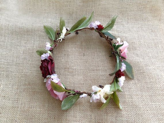 flower crown wedding floral crown bridal marsala by thehoneycomb